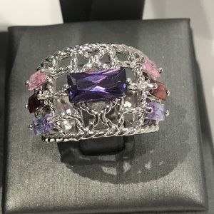 Jewelry - Sterling silver size 7.5 ring with colorful stones